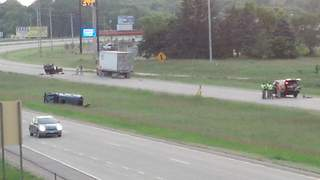 View of the scene of fatal crash on Highway 10 in Waupaca. (courtesy of FOX 11).