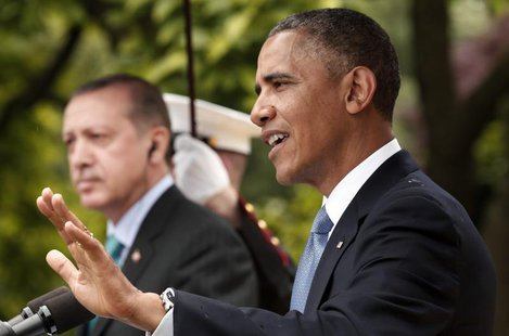 U.S. President Barack Obama (R) and Turkish Prime Minister Recep Tayyip Erdogan hold a joint news conference in the White House Rose Garden