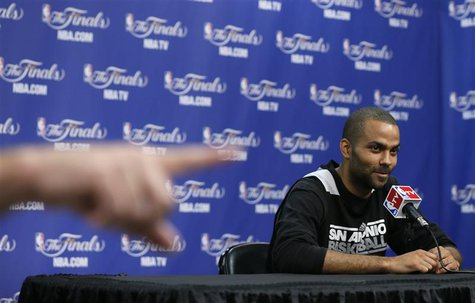 San Antonio Spurs Tony Parker of France listens to a media question after practice for their NBA Finals basketball playoff series against th