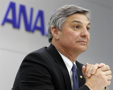 Boeing Commercial Airplanes' Chief Executive Ray Conner speaks during a news conference after conducting an All Nippon Airways' (ANA) Boeing