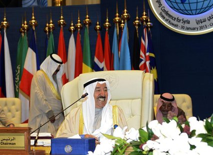 Kuwait Emir Sheikh Sabah al-Ahmed al-Sabah smiles ahead of the opening ceremony of the International Humanitarian Pledging Conference for Sy