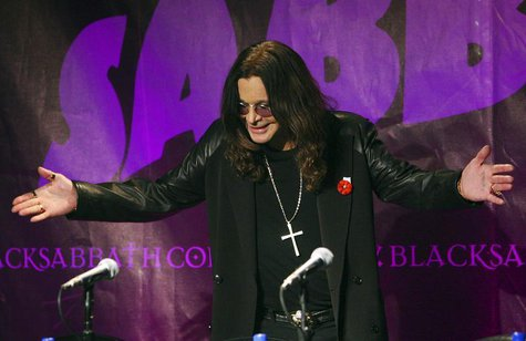 Black Sabbath lead singer Ozzy Osborne attends a news conference with the other original members of the band to announce the reunion of the