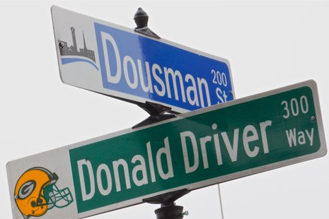 The new corner of Dousman and Donald Driver Way
