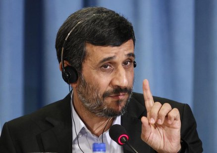 Iran's President Mahmoud Ahmadinejad gestures during a news conference in New York, September 24, 2010. REUTERS/Lucas Jackson