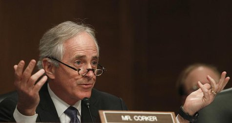 Senator Bob Corker (R-TN) questions members of the panel testifying before the Senate Banking, Housing and Urban Affairs Committee in Washin