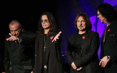 Original members of the rock band Black Sabbath (L-R), Bill Ward, Ozzy Osborne, Geezer Butler and Tony Lommi, announce the reunion of the ro