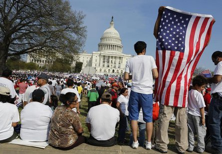Immigrants protest in favor of comprehensive immigration reform while on the West side of Capitol Hill in Washington, April 10, 2013. REUTER