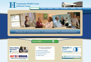 Screen shot of new Community Health Center of Branch County website