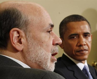 U.S. President Barack Obama meets with Chairman of the Federal Reserve Ben Bernanke in the Oval Office of the White House in Washington, in