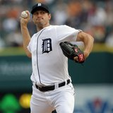 Detroit Tigers starting pitcher Max Scherzer throws to the Baltimore Orioles during the first inning of their MLB American League baseball g