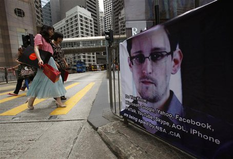 A poster supporting Edward Snowden, a former contractor at the National Security Agency (NSA) who leaked revelations of U.S. electronic surv