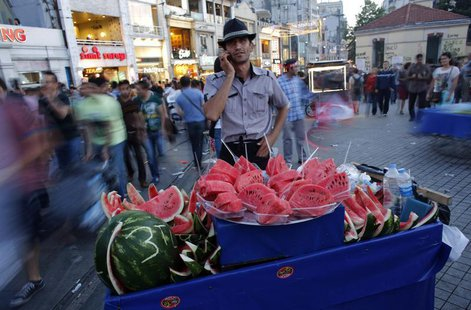 A street vendor selling watermelons talks on his mobile phone as he waits for customers at Taksim square in central Istanbul June 9, 2013. R