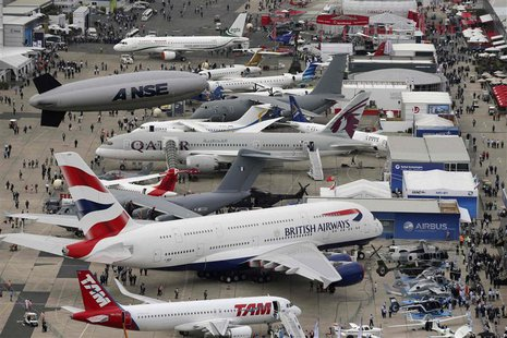 An aerial view of the 50th Paris Air Show, at the Le Bourget airport near Paris June 18, 2013. REUTERS/Pascal Rossignol