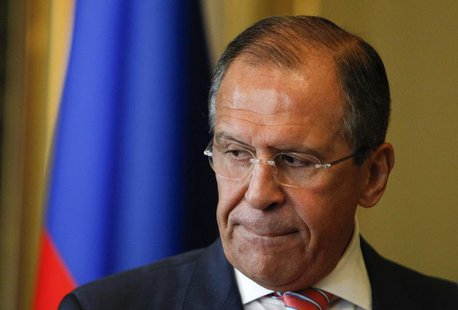 Russian Foreign Minister Sergei Lavrov looks on after a meeting with his Italian counterpart Emma Bonino in Moscow, June 15, 2013. REUTERS/S