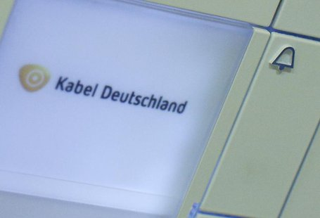 The logo of Germany's biggest cable operator, Kabel Deutschland, is written on a door bell at the Kabel Deutschland playout center in Frankf