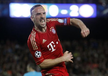 Bayern Munich's Franck Ribery celebrates after a goal was scored against Barcelona during their Champions League semi-final second leg socce
