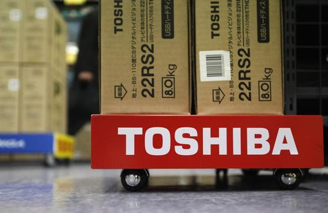 Boxes of Toshiba Corp's Regza liquid-crystal display (LCD) televisions are seen at an electronic store in Tokyo January 31, 2013. REUTERS/Sh