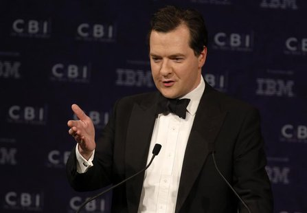 Britain's Chancellor of the Exchequer George Osborne speaks at the Confederation of British Industry (CBI) annual dinner in London May 15, 2