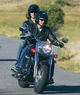 motorcycle riders with helmets