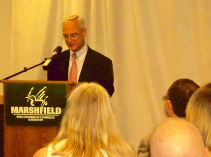 Todd Berry of the Wisconsin Taxpayers Alliance addresses business leaders in Marshfield Tuesday
