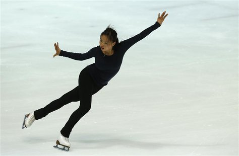 South Korea's national figure skater Kim Hae-jin (R), 16, performs during a training session at the National Training Center in Seoul June 1