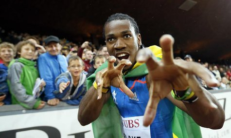 Jamaica's Yohan Blake celebrates as he won the men's 100m race during the Weltklasse Diamond League meeting in Zurich August 30, 2012. REUTE