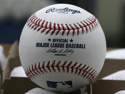A baseball ready for export is pictured at the Rawlings factory in Turrialba, Costa Rica March 3, 2010. REUTERS/Juan Carlos Ulate