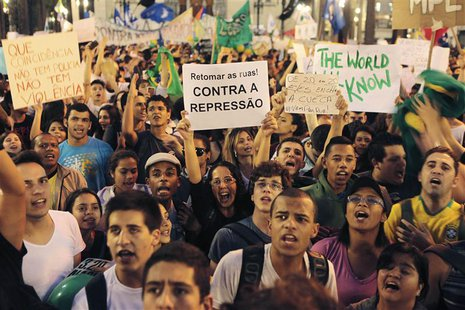 Demonstrators gather in the Praca da Se as part of protests against poor public services, police violence and government corruption, in Sao
