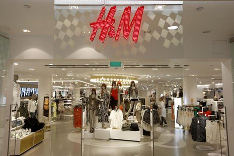 The company logo is placed at the flagship store of H&M, Hennes & Mauritz, HMb.ST, the world's second-biggest fashion retailer in Sweden's c