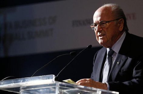 FIFA President Sepp Blatter gives a speech during the Financial Times and International Football Arena Business of Football summit in Rio de