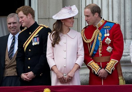 Britain's Prince Andrew (L), Prince Harry (2nd L), Prince William (R) and Catherine, Duchess of Cambridge stand on the balcony of Buckingham