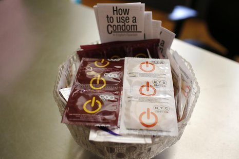 A bowl of free New York City condoms are seen in a lobby at the AIDS Service Center of New York City (ASC/NYC) lower Manhattan headquarters