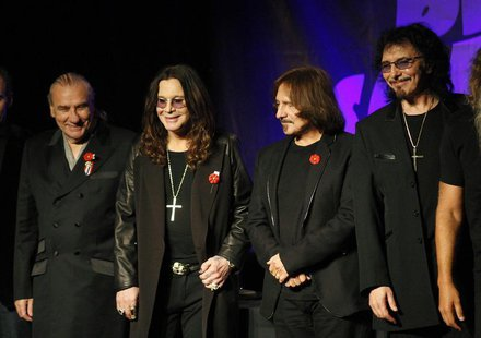 Original members of the rock band Black Sabbath, Bill Ward (L), Ozzy Osborne (2nd L), Geezer Butler and Tony Lommi (R), announce their reuni