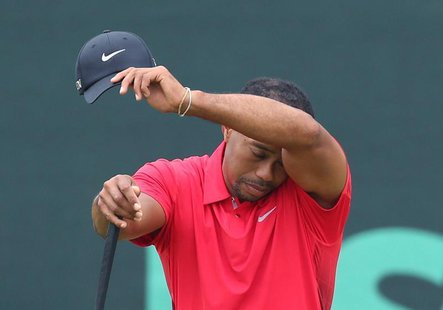 Tiger Woods of the U.S. wipes his face while on the second green during the final round of the 2013 U.S. Open golf championship at the Merio