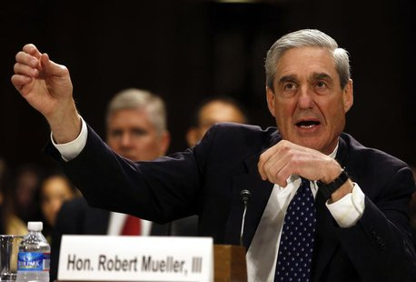 FBI Director Robert Mueller gestures at the U.S. Senate Judiciary Committee at an oversight hearing about the Federal Bureau of Investigatio