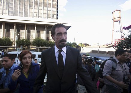 John Mcafee, anti-virus software guru, arrives for a news conference outside of the Supreme Court of Justice in Guatemala City, December 4,