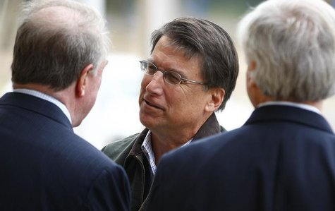 North Carolina Republican gubernatorial candidate, former Charlotte Mayor Pat McCrory meets supporters outside Myers Park Traditional Elemen