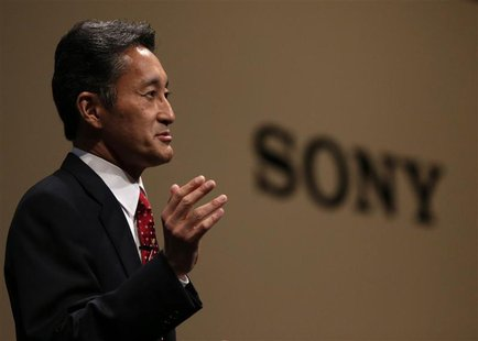 Sony Corp's President and Chief Executive Officer Kazuo Hirai speaks during the Sony Corporate Strategy Meeting at the company's headquarter