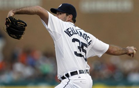 Detroit Tigers starting pitcher Justin Verlander throws to the Baltimore Orioles during the fifth inning of their MLB American League baseba