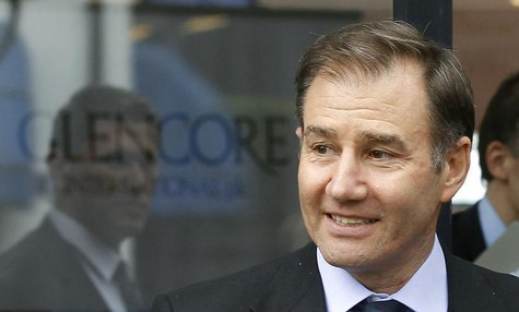 Glencore CEO Ivan Glasenberg smiles as he leaves after the company's annual shareholder meeting in the Swiss town of Zug May 9, 2012. REUTER