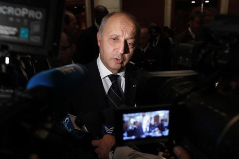 French Foreign Minister Laurent Fabius speaks to the media after the Friends of Syria alliance meeting in Amman May 22, 2013. REUTERS/Muhamm