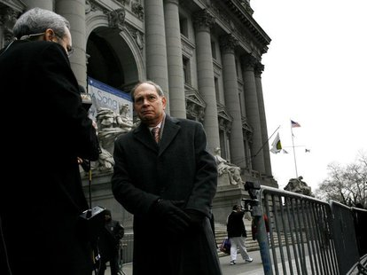 Irving Picard. the bankruptcy trustee in the Bernard Madoff case, speaks to the press outside the U.S. Bankruptcy Court in New York February