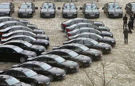 New Audi A8's are parked in front of the Audi headquarter before the company's annual news conference in Ingolstadt March 12, 2013. REUTERS/