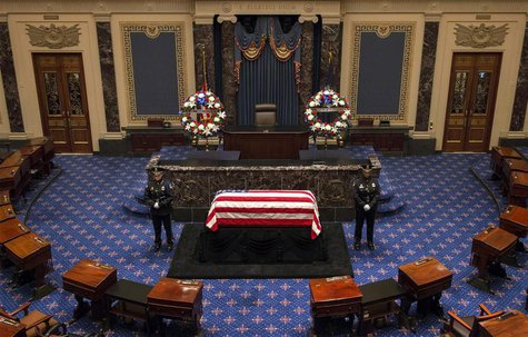 The flag-draped casket of the late Senator Frank Lautenberg (D-NJ) lies in repose in the Senate chamber on Capitol Hill in Washington, June