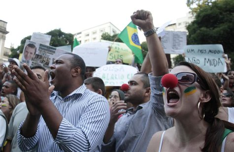 Demonstrators shout anti-government slogans during a protest in Rio de Janeiro, one of many such protests in Brazil's major cities, June 20,
