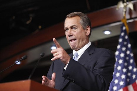 U.S. House Speaker John Boehner (R-OH) calls on a reporter during a news conference at the U.S. Capitol in Washington, June 20, 2013. REUTER
