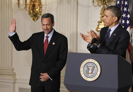 U.S. President Barack Obama announces Democratic Representative Mel Watt (L) as his nominee for director of the Federal Housing Finance Agen