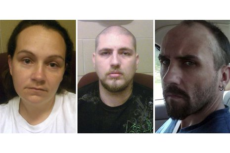 (From left to right) Jessica Hunt, Jordie Callahan, Daniel Brown, three Ohio residents who are accused of holding a cognitively disabled wom