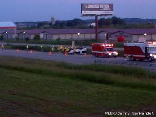 One person injured in crash on Highway 41 in the Little Chute area on June 20, 2013. (courtesy of FOX 11).