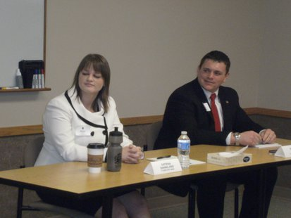 Rep. Katrina Shankland and challenger Patrick Testin at a 2012 Assembly candidate forum in Stevens Point